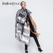 TWOTWINSTYLE Winter Women's Down Jacket Long Sleeve Patchwork Ribbons Irregular Cotton Coats Female 2020 Autumn Plus Thick Warm