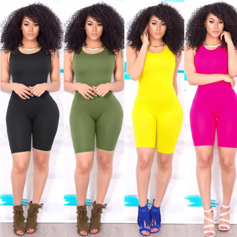 0e94012f4743 2019 Newest Hot Women s Casual Sleeveless Bodycon Romper Jumpsuit Club  Bodysuit Short Pants