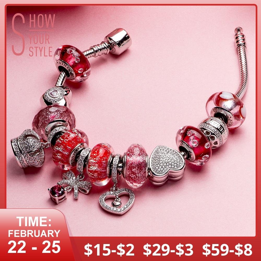 ATHENAIE 925 Argent Rose Rouge Coeur Couronne Perle bracelet porte-bonheur Pour Femmes D'origine Bijoux Cadeau Pour La Fête des Mères