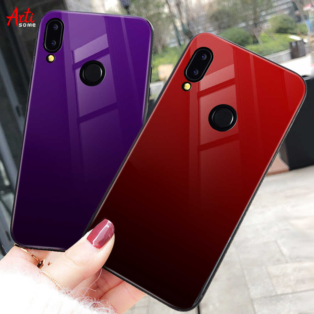 Gradient Glass Back Case For Huawei P20 Lite P Smart Plus Nova 3i Case Luxury Silicone Case For Huawei Honor 10 9 Lite 8X Coque