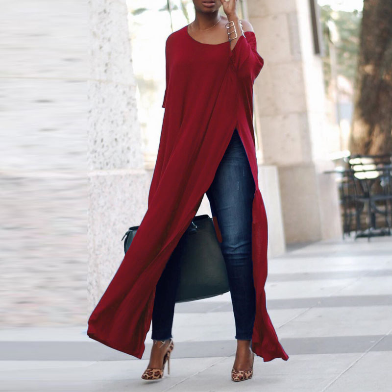 2019 Plus Size ZANZEA Autumn Women Casual Solid Off Shoulder 3/4 Sleeve High Split Party Long   Shirt   Vestido Blusas   Blouse   Tops