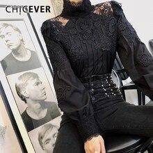 CHICEVER Camiseta informal de verano de encaje liso para mujer, ropa ajustada de talla grande con cuello levantado y manga abombada, 2020