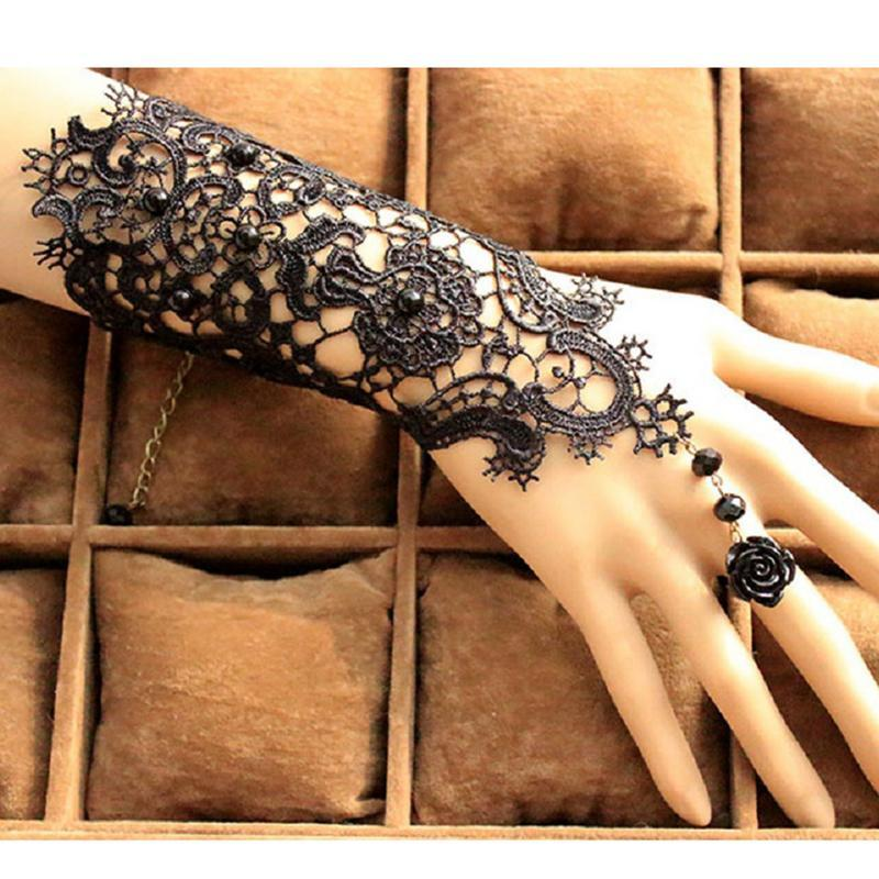 MISS M Black Lace Flower Retro Bracelet Ring Set Women Accessories Black Gloves For Home Party Accessories Decorations White