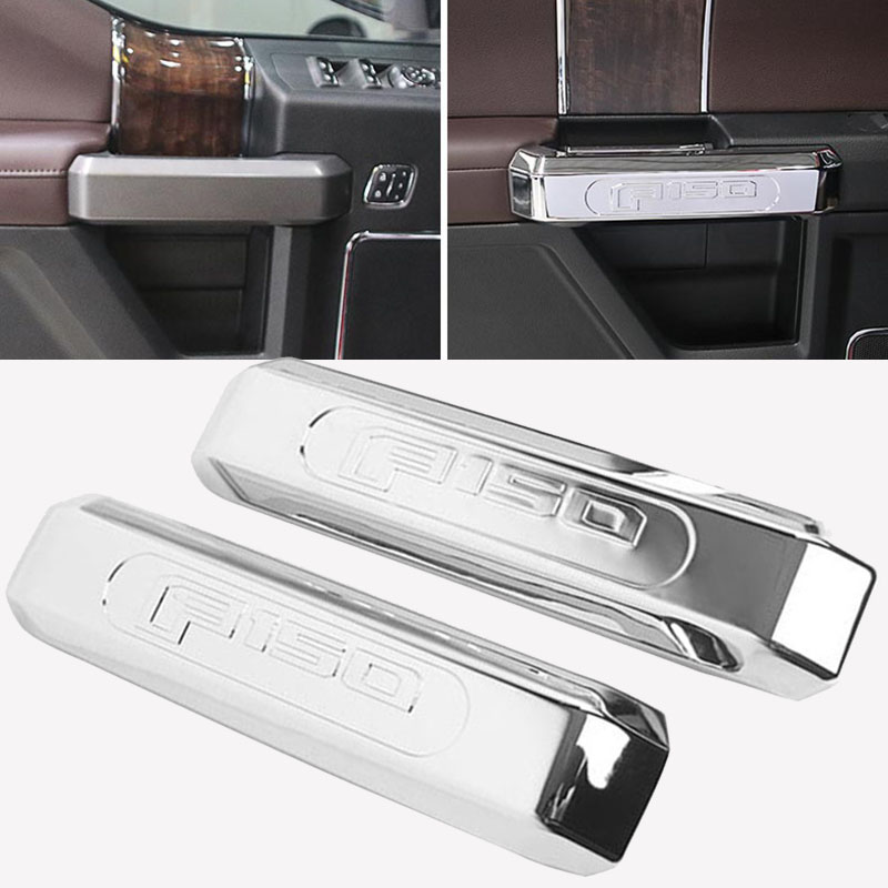 JX-LCLYL 2pcs Chrome Inner Front Door Handle Cover Trim for 15-17 Ford <font><b>F150</b></font> <font><b>Accessories</b></font> image