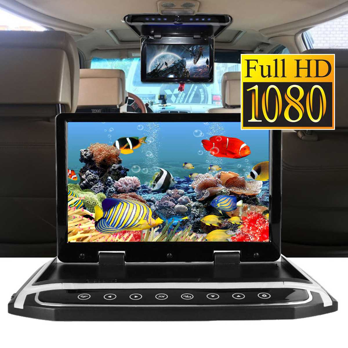 15.6 HD Wide Screen Car DVD Player HDMI Car Ceiling Flip Down Monitor Roof Mount Player 1920*1080 - 6