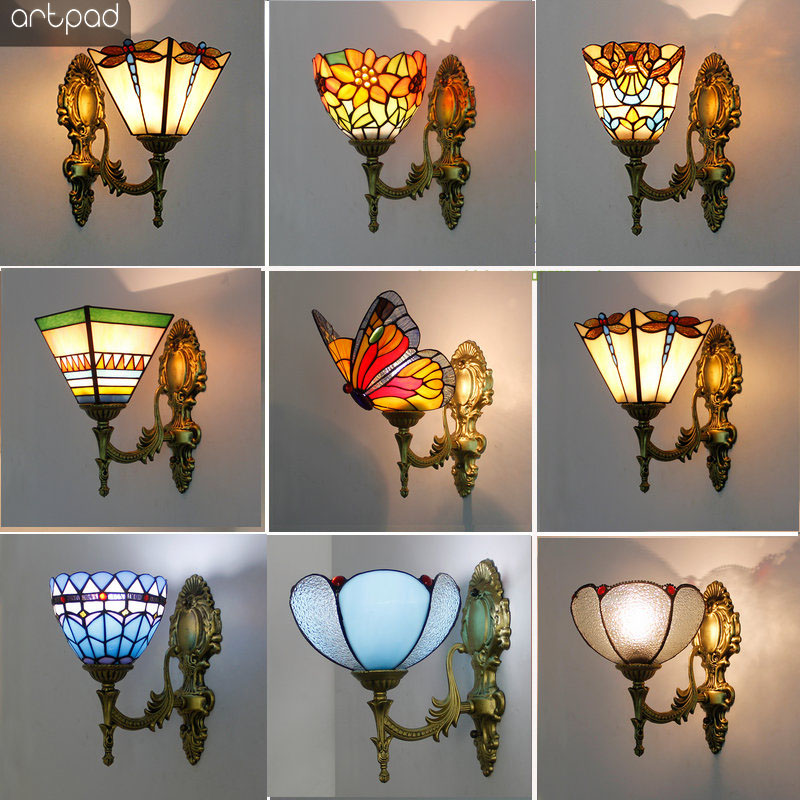 Artpad Stained Glass Lampshade Batterfly Pyramid Art Wall Lamp Led Bedside Study Asile Wall Mounted Lamp