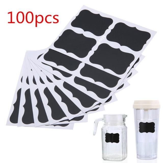 100pcs Blackboard Sticker Label Chalk Board Labels Kitchen Jars Organizer Craft Chalkboard Sticker For Home Kitchen Decoration