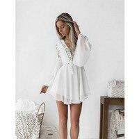 Новинка, белое летнее богемное мини-платье для девочек, женская модная весенняя однотонная Белая Мини-кружевная повседневная одежда, плать...