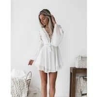 Neue Mädchen Weiß Sommer Bohemian Mini Kleid Frauen Mode Frühling Solide Weiß Mini Spitze Casual Kleidung V-ausschnitt Langarm Kleider