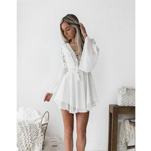 new Girls White Summer Bohemian Mini Dress Women Fashion Spring Solid White Mini Lace Casual Clothes V-neck Long Sleeve Dresses(China)