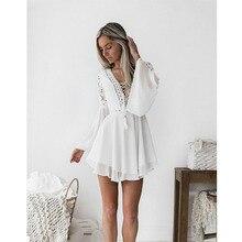 new Girls White Summer Bohemian Mini Dress Women Fashion Spring Solid White Mini Lace Casual Clothes V-neck Long Sleeve Dresses