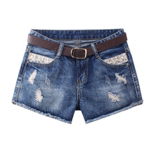 Streetwear Summer Women Ripped Hole Denim Shorts 2019 New Arrival Mid Waist Lace Patchwork Shorts Jeans Blue Short Femme