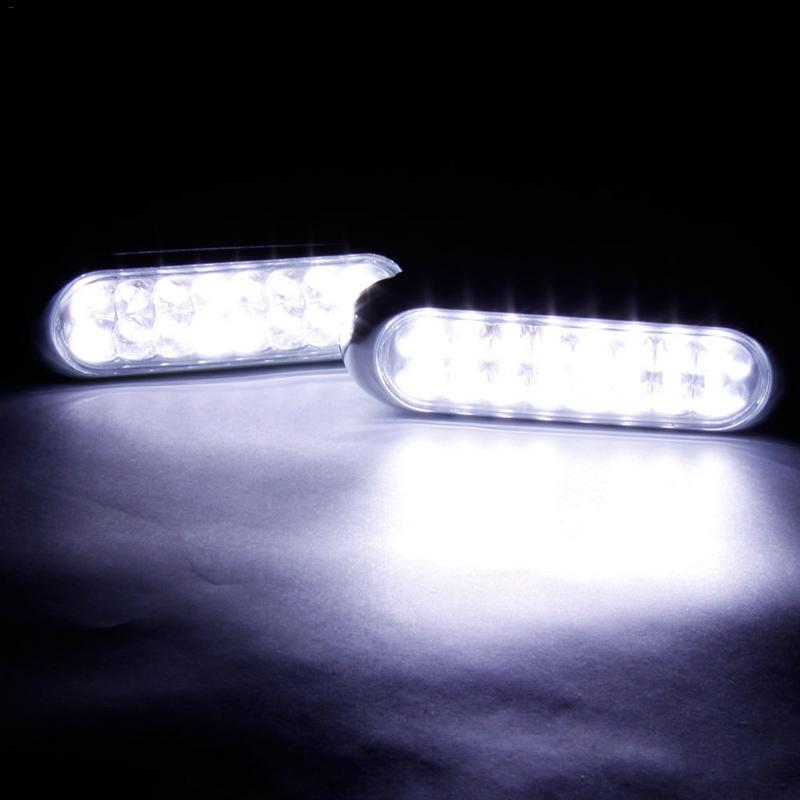 2 Pieces Universal 16 LED Car Daytime Running Lights  Fog Light 12V White  Daytime Driving Auto Lamp Car Accessories