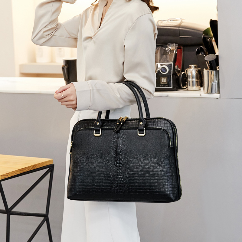 Business Women's Briefcase Bag Woman Leather Laptop Handbag Work Office Ladies Crossbody Bags For Women Handbags Computer 14inch