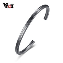 Vnox Men Vintage Silver Color Open Cuff Bangle Stainless Steel Mens Wire Cable Bangle Bracelets for Boys Male Jewelry(China)