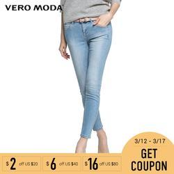 Vero Moda бренд 100% хлопок Стиль разбив шлифования белый Девятый брюки для девочек Эластичный slim fit джинсы женщин женщина | 315349012
