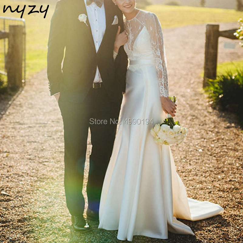 NYZY W10 a-ligne Satin Simple dentelle à manches longues robe de mariée Boho 2019 vestido de novia robe de mariee