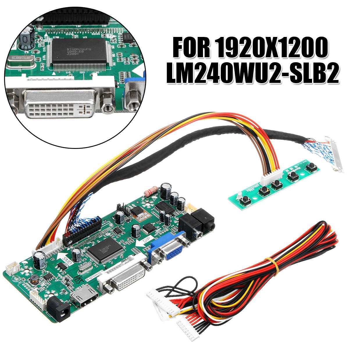 """LEORY LCD contrôleur carte DVI VGA HDMI Audio PC bricolage pilote carte convertisseur Kit pour 1920x1200 LM240WU2-SLB2 24 """"affichage"""