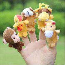 Family Party Finger Puppets Cloth Doll Baby Educational Hand Cartoon Animal Toy Sets Bed Time Story Cartoon Puppet Show Tools(China)