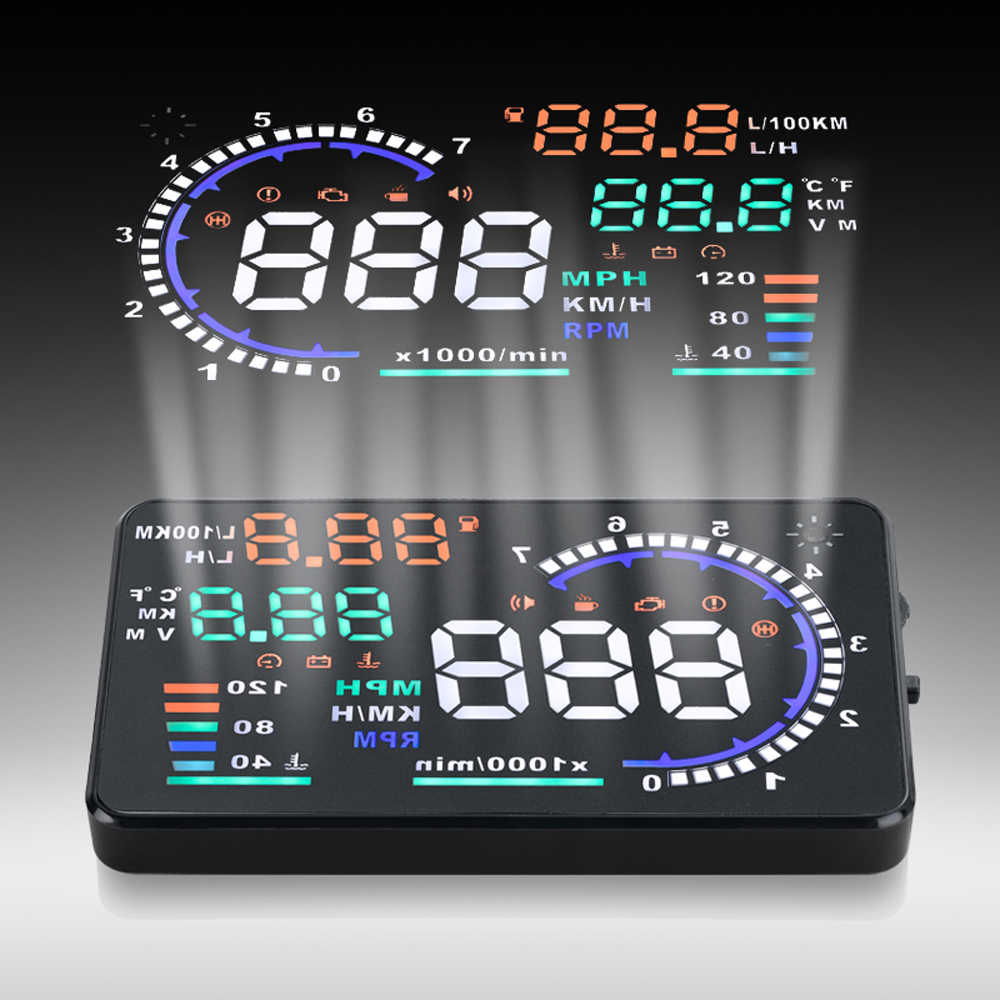 A8 5.5in Car HUD Headup Display with OBD 2 Interface Plug Auto Driving Parameters Projection For Tesla Model 3 Bmw E46 E90 Ford
