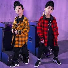 Children hip hop costumes Korean-Style Street Dance harem pants plaid Shirt Boy Costume Hip Hop Jazz dancewear New Style Set цены