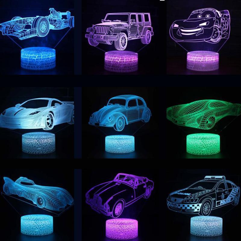 Car Remote Touch Switch Christmas Decorative Lights 7 Color Change Acrylique Usb Usb Killer Power Bank 3d Lamp