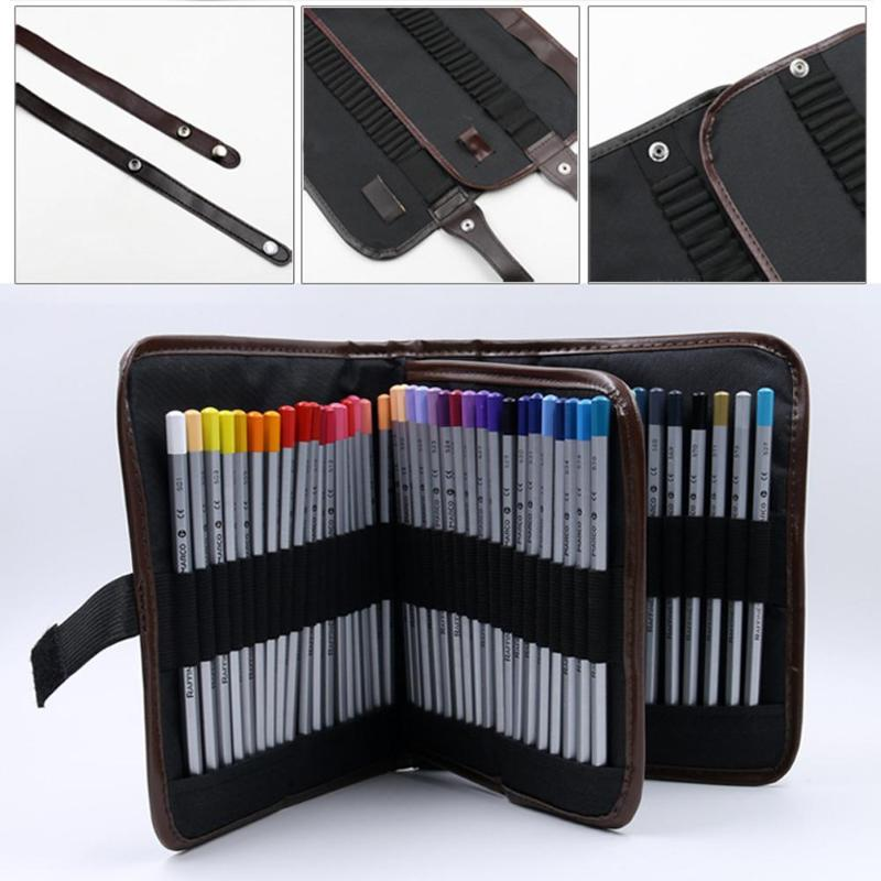 Makeup Brushes Case Student Pencil Pen Holder Bag Makeup Tool Storage Pouch Canvas Cosmetic Tools Organizer Black in Eye Shadow Applicator from Beauty Health