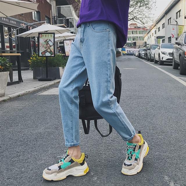 2020 yaz erkek moda trendi siyah/mavi renk rahat harem pantolon streç Slim Fit Skinny Jeans Biker denim pantolon 27 34