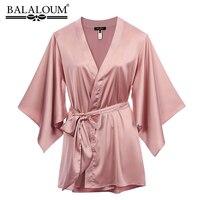 BALALOUM New Arrivals Women Pink Robe Silk Sexy Kimono Nightgown Nightdress Wedding Bridal Party Bath Robes Gift High Quality