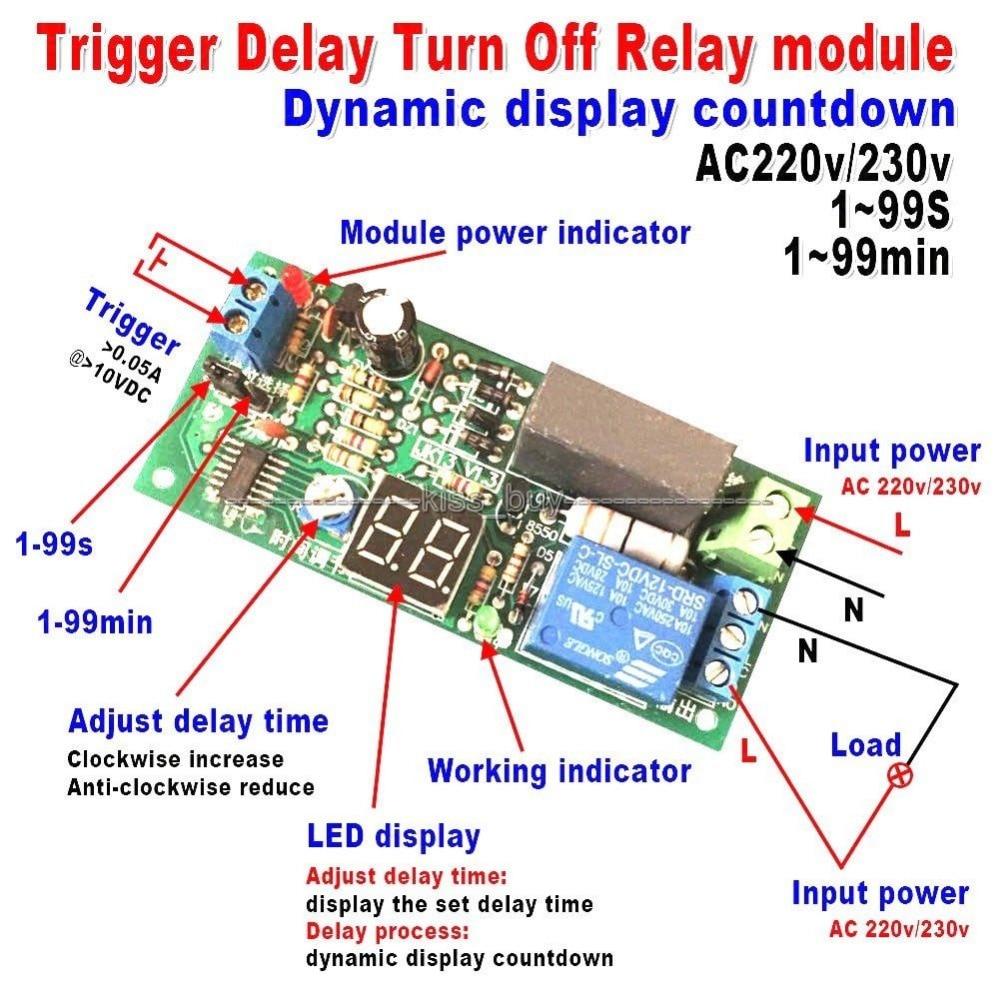 AC 220V 230V Trigger Timer Delay Turn Off Switch Board Relay Module W//LED L A