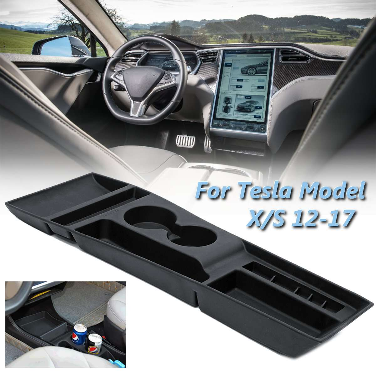 Us 4619 23 Offcar Armrest Box Storage Center Console Organizer Container Holder Box For Tesla Model X S 2012 2013 2014 2015 2016 2017 In Stowing