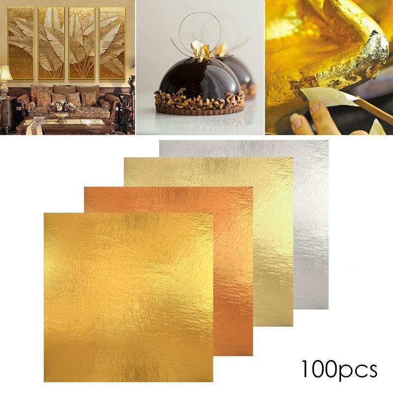 100pcs Sheets Gilding Craft Paper Imitation Gold Sliver Copper Leaf Leaves Foil Paper Sticker