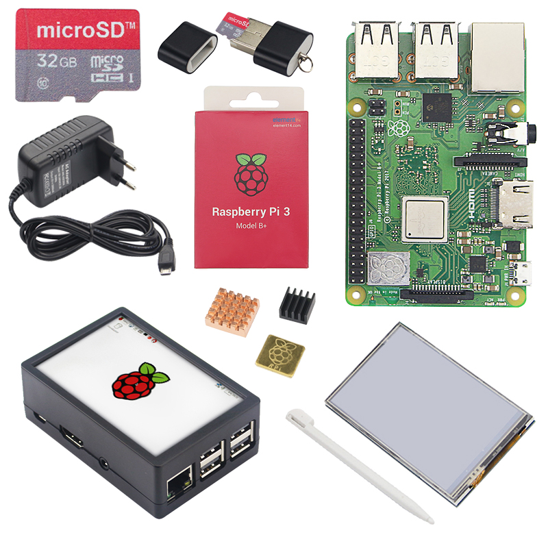 Ultime Raspberry Pi 3 Modello B + LCD Kit + 3.5 pollici Touchscreen + Daul Uso ABS + Custodia 32 GB SD Card + 3A Adattatore di Alimentazione + Dissipatore di Calore