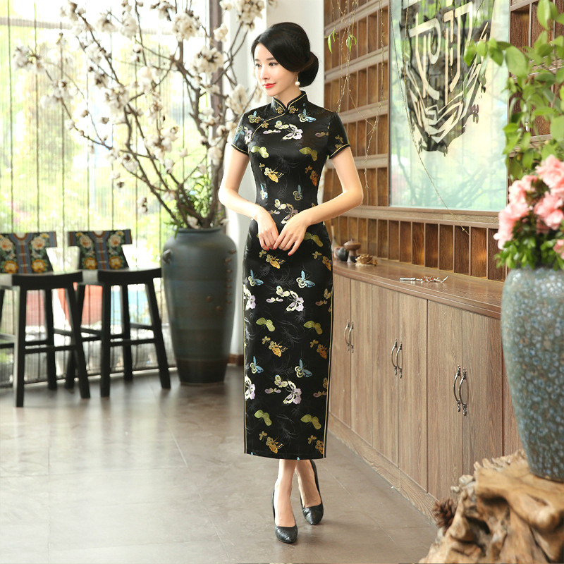 Chinese Vintage Dresses Women Black Long Qi Pao Cheongsam Black Butterfly Printing New Pattern Short Sleeve Tang Costume Modern