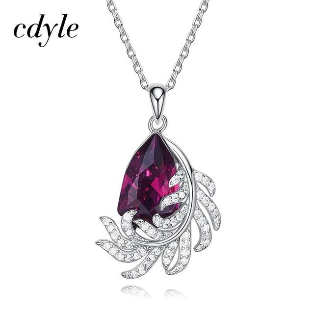 Cdyle Crystals from Swarovski Necklace Women Pendants 925 Sterling Silver Fashion Jewelry Austrian Rhinestone Purple Bijoux