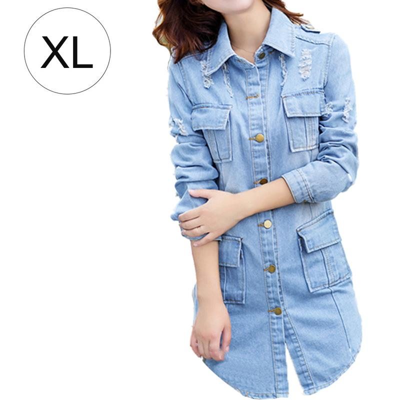 Long Lapels Female Denim Jacket Women Four Pockets Design Fashionable Soft Denim Jackets Coat Tops Spring Summer Autumn Newly