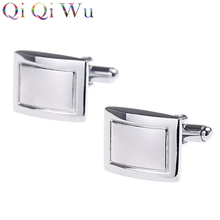 6 Pair Factory Wholesale Price Rectangular Cufflinks Wedding Gifts for Men Guests Square Cuff Link Business Gifts Silver Buttons