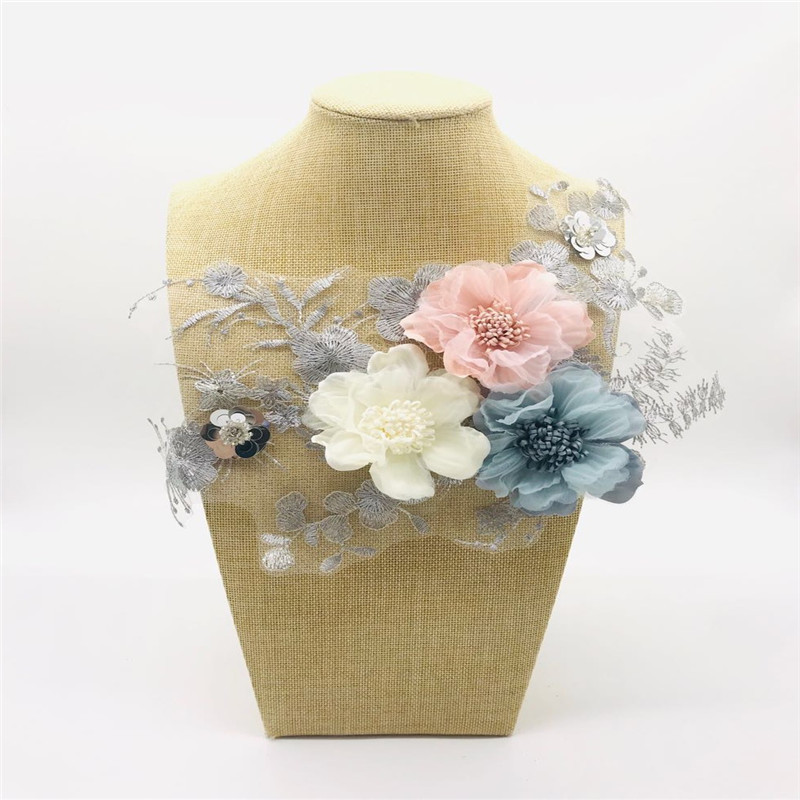 embroidery color lace flowers handmade three-dimensional flower cloth stickers tide DIY patch