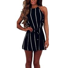 2019 Fashion Lady Summer Stripe Print Sleeveless Jumpsuit Women Sexy Bandage Sling Loose Casual Party Shorts Romper