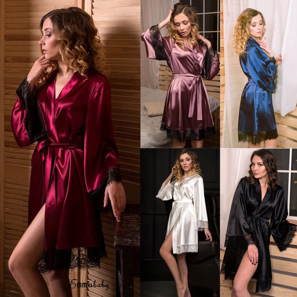 Women Satin Robe Sexy Lace Nightgown Pajamas Sleepwear Kimono Babydoll Robes