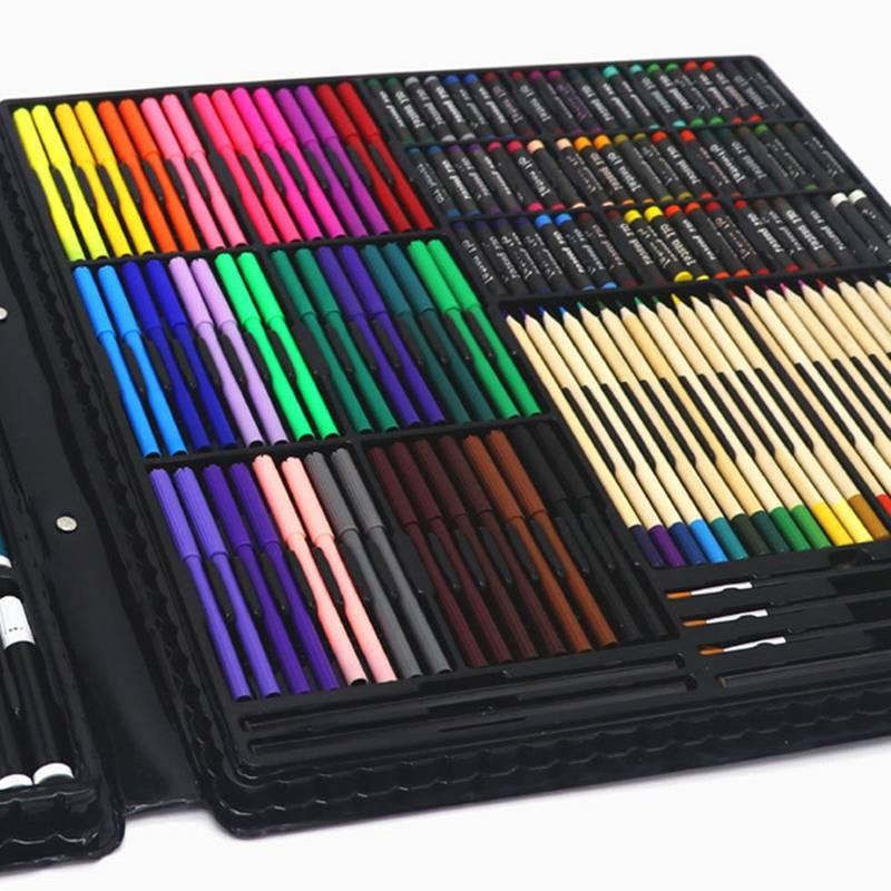 258 pièces professionnel peinture dessin stylo Art ensemble esquisse couleur crayon Pastel gomme peinture boîte cadeau d'anniversaire - 5