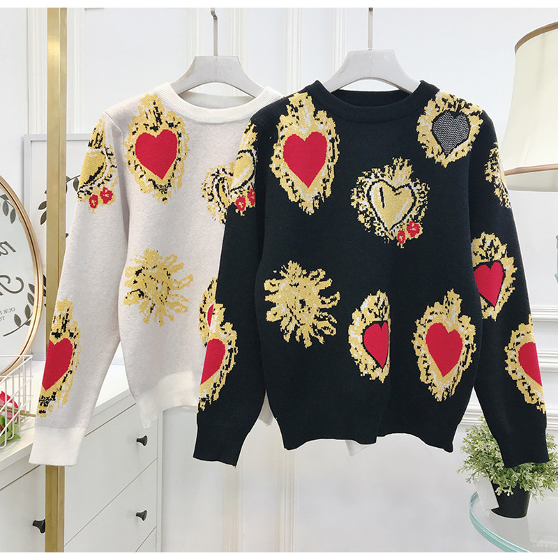 Autumn Fashion Vintage Heart Print Sweater Knitted Women  Jumpers Pull Youth Femme Tender Lovely Elegant Classic Super Explosion