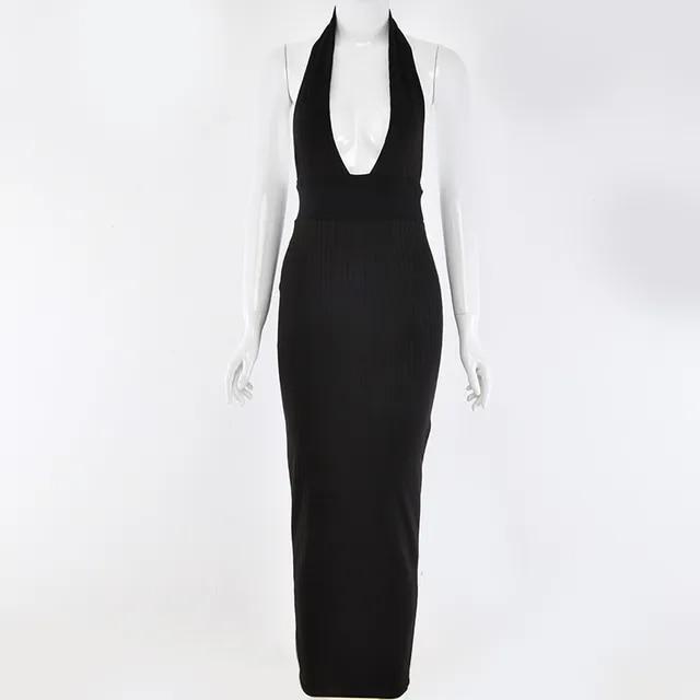 COSYGAL Knitting Stripe Sexy Bodycon Dresses Women V Neck Long Maxi Dress Backless Pencil Summer Dress 2019 Vestidos De Fiesta