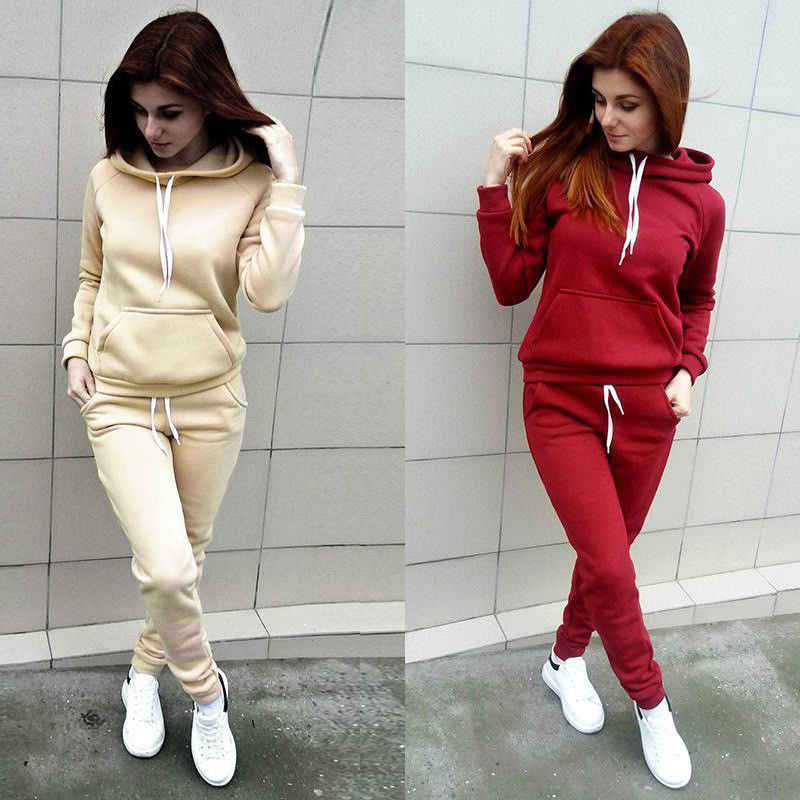 Wanita Hoodie Pakaian Set Kasual Celana 2 Buah Set Solid Hangat Pakaian Wanita Latihan Set Top Wanita Perapi Celana