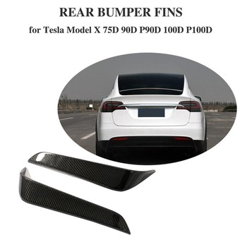 For Tesla Model X 2016 - 2018 Sport Utility 4-Door Rear Bumper Vent Fender Trim Sticker Decoration Carbon Fiber
