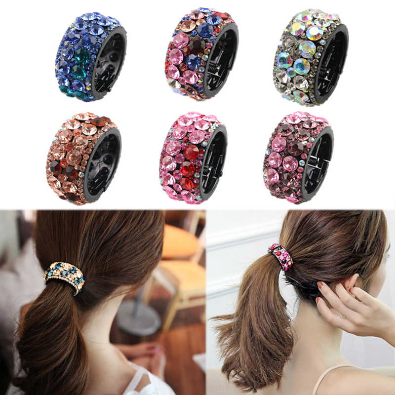 1PC   LNRRABC  2018 plastic crystal color hairpin ponytail ladies jewelry hairpin round buckle hair rope