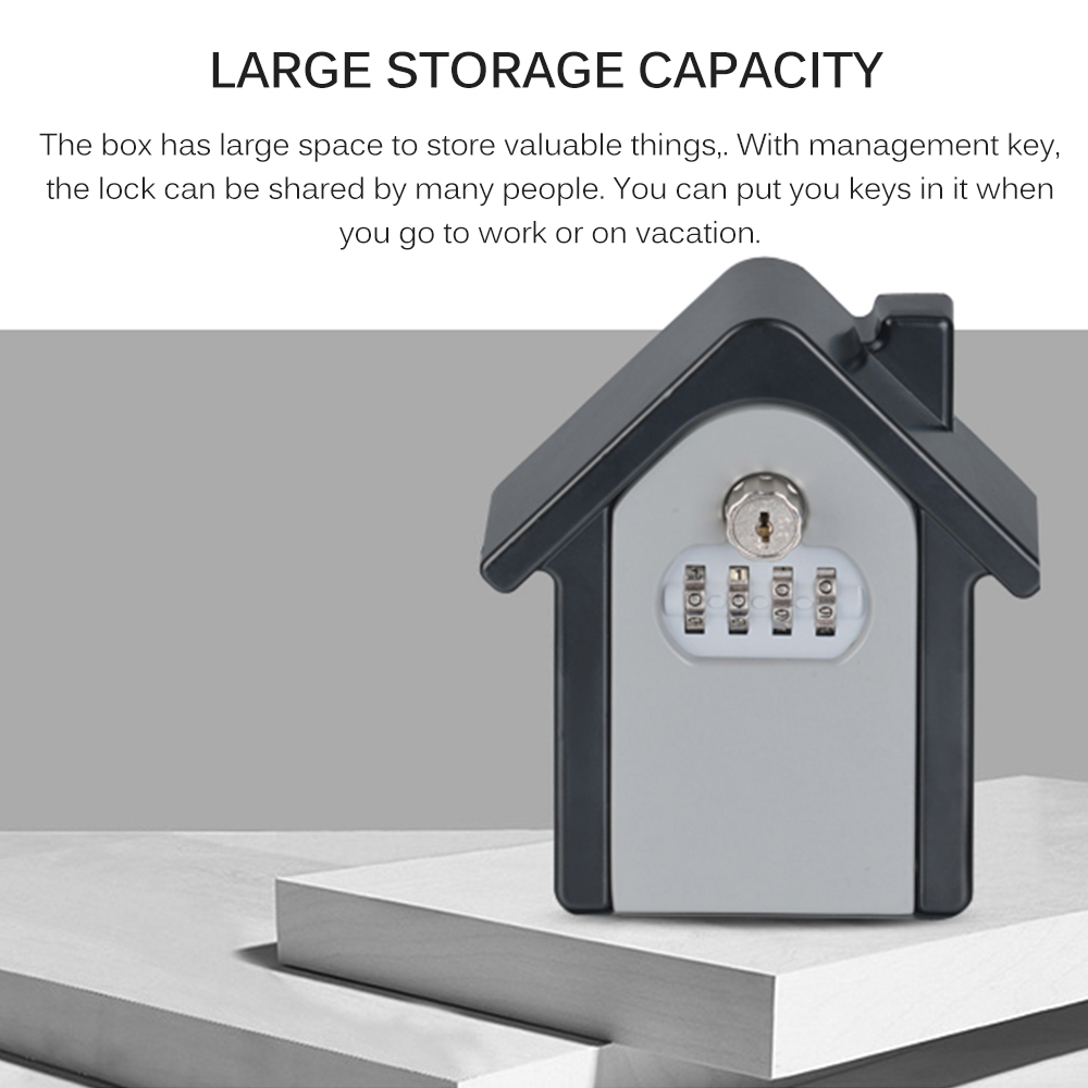 Safety Home Durable Storage Box Money Key Hider 4 Digit Security Secret Code Lock Wall Mounted Combination Password Keys Locked