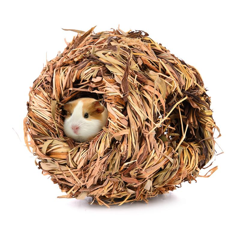 Hamster Cage Small Pet Animal Grass Net Grass Hand-weaved For Chinchilla Hamster Guinea Pigs Funny Toys Small Animal Playground