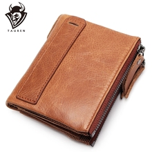 цены 100% Genuine Crazy Horse Leather Wallet Protect RFID Men Zipper Small Walet Male Cuzdan Short Coin Purse Card Holder