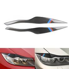 2pcs Carbon Fiber Headlight Eyelid Cover Eyebrows Trim Car Stickers For BMW E90 Front Headlamp Eyebrows 3 series 318i 320i 325i стоимость